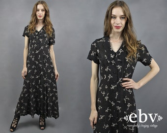 90s Floral Dress Floral Maxi Dress Black Floral Dress Black 90s Dress 90s Maxi Dress 1990s Dress Wildflowers Dress Soft Grunge Dress M