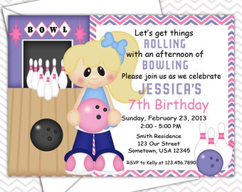 Bowling Girl Invitations PRINTABLE - Birthday Party - Baby Shower - Sports