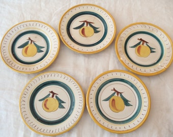 Set of Five Stangl Fruit Pattern Bread and Butter Plates