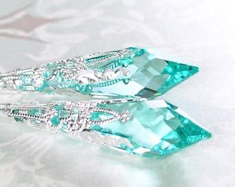 Green Aquamarine Earrings Sterling Silver Swarovski Aquamarine Crystal Earrings Blue Green Aqua Seafoam Long Drop Earrings March Jewelry