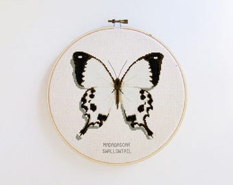Butterfly cross stitch pattern - Madagascar Swallowtail butterfly - modern cross stitch pattern PDF - Instant download