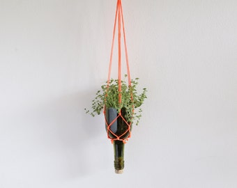 Recycled wine bottle hanging planter - green glass