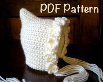 PATTERN:  Violet Pixie Bonnet, newborn baby gnome flower hat, easy crochet PDF, InStanT DowNLoaD, Permission to Sell