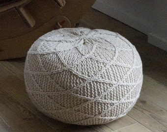 Knitting Pouf Poof, Ottoman, Footstool, Home Decor, Pillow, Bean Bag, Floor cushion Floor Puff