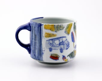 Ice Cream Coffee Mug // Multi Color // Handmade Wheel Thrown Pottery