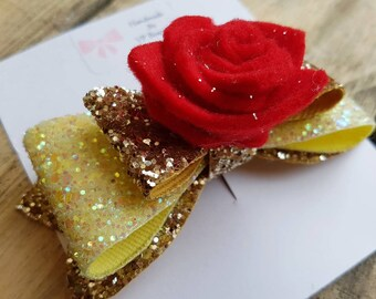 Beauty and The Beast inspired Belle hair bow