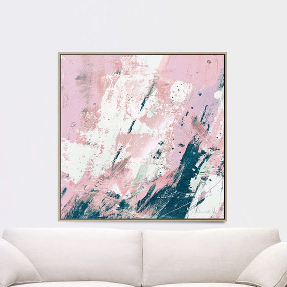 Printable Abstract Art Navy Blue And Pink Art 40x40 Instant