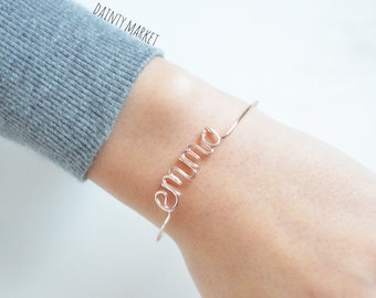 Custom Name Bracelet Bangle • Personalized Name Jewelry • Wire Word • Bridesmaid, Sister, Friend, Mom Kids Gift • Wedding Shower • For Her