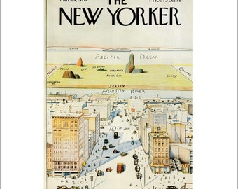 "Vintage The New Yorker Magazine Cover Poster Print Art, Steinberg, 1976 Matted to 11"" x 14"", Item 001, 9th Ave"