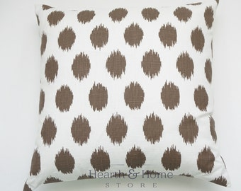 Inventory Reduction Sale  Brown Polka Dot Ikat Decorative Throw Pillow Cover Chocolate Accent   10 Cushion Cover Sizes