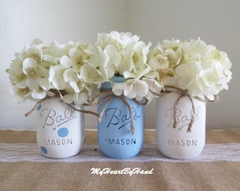 Boy Baby Shower Decorations, Blue Baby Shower Centerpieces, Painted Mason Jars, Rustic Baby Shower, Baptism Centerpieces, Nursery Decor
