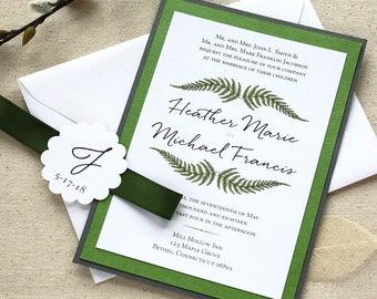 Fern Wedding Invitation  |  Leaf Invitation  |  Garden Wedding  |  Greenery Invitation
