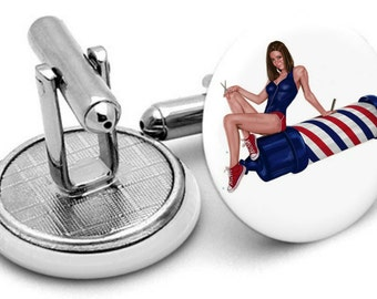 Barbershop Barber Pole Cufflinks Cufflinks Mens  Cufflinks Links New Velvet Pouch