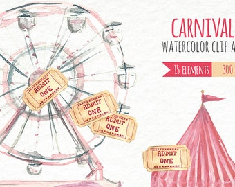 Watercolor Clip Art - Carnival - Fair - Instant Download - Rides - Cotton Candy - Fireworks - Pretzel - Swings - Merry go round - Corn Dog