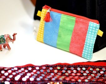 Zipper Pouch, gadget case, cosmetic pouch, notions pouch, padded, one of a kind, zip pouch, scrappy pouch, sewing pouch, project pouch
