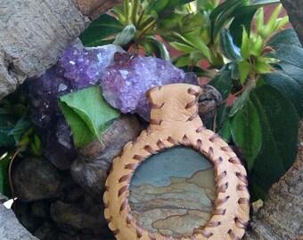 Scenic Jasper Leather Pendant