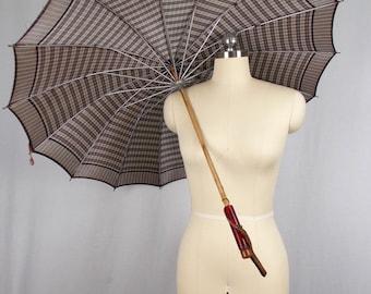 Vintage Gray Plaid Umbrella Parasol