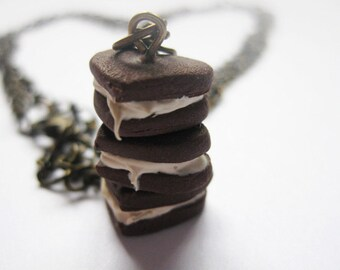 Heart Biscuits Tower Necklace _ 1/12 Dollhouse Scale Miniature Food _ Polymer Clay