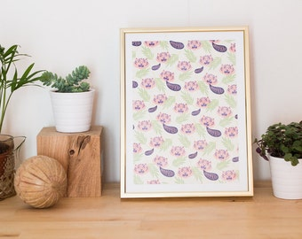 A5 illustration pattern Tigers poster