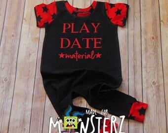 Play Date Romper/Boys Pull on Romper/Custom Vinyl Romper