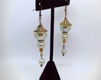Green Faux Pearl Earrings from Repurposed Vintage Necklaces