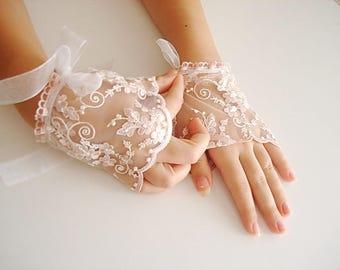Pastel pink Lace wrist cuffs ,pale pink Wedding Gloves, hand accessories blush cuff wedding accessories