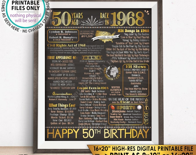 "1968 Birthday Poster 50th Birthday Gift Back in 1968 Flashback 50 Years Ago USA Instant Download PRINTABLE 8x10/16x20"" Chalkboard Style Sign"