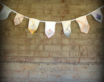 Vintage Handkerchief Banner- White With Colorful Embroidery and Lace