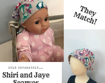 Shiri Children's Doll Head Scarf - Matching Doll Hat To Our Mia Scarf, Hat, Head Cover, Cancer, Chemo, Alopecia, Hair Loss Gray Foxes