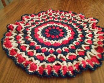 New HANDMADE Crocheted Christmas Sparkling Round Doily