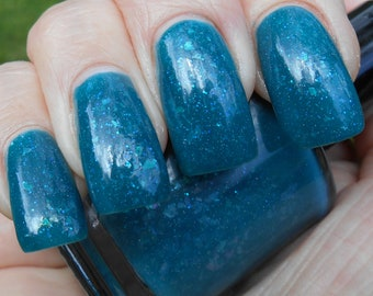 Rain Gem teal flakie nail polish