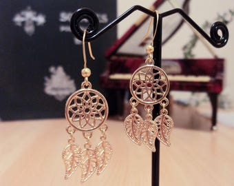 Dream catcher with lace - Gold - 4.5 cm leaf earrings