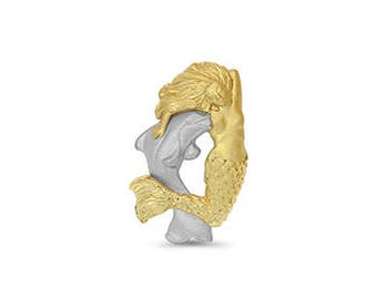 14k two tone solid gold mermaid with dolphin slide. sea life jewelry.