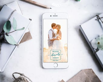 Custom Snapchat Geofilter - Square with Couples Names Wedding Snapchat Geofilter