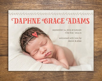 Custom Whimsical Birth Announcement with Photo | Printable PDF