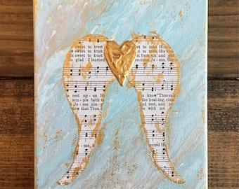 Abstract Angel Wings Painting, angel wings art, guardian angel art, hymnal art