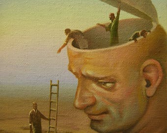 "Original miniature painting ""Another's opinion"" 7''x5''. Surreal art. Oil painting on canvas."