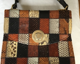 1960's Riviera Leather Patchwork Handbag - Made in England - Boho Chic