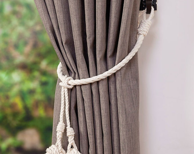 White Cotton Rope Monkey Fist Knot Tassel Curtain Tie Backs / Shabby chic curtain ties / nautical curtain hold back/ white rope tie backs
