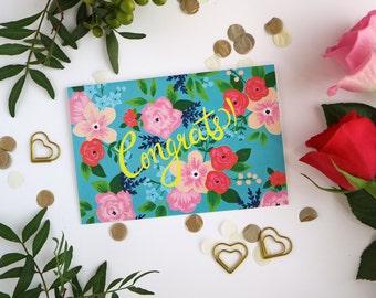 Congrats Floral Card - Congratulations Card - Greeting Card