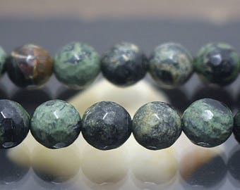 Faceted Green Birdseye Rhyolite beads, Gemstone beads, 128 Faceted round beads, 15 inch per strand ( 6 mm 8mm 10mm 12mm )