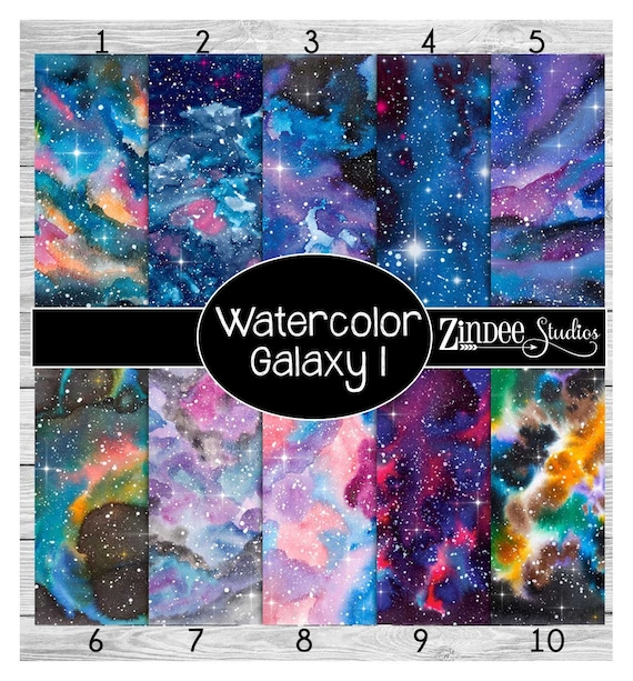 Watercolor Galaxy Printed Vinyl Adhesive Vinyl Heat Transfer