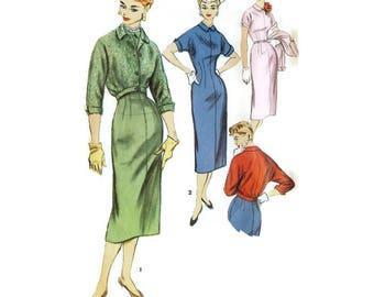 1950s Sheath Dress an Jacket Pattern Simplicity 4994 B30 Sz 12