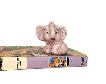 Vintage Ceramic Pink Elephant Figurine Trunk Up // Baby Gift