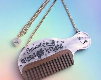Comb Necklace - Laser Cut Necklace - Pastel Necklace - Marble Necklace - Grease Necklace - Statement Necklace - Wooden Comb - Pink Ladies