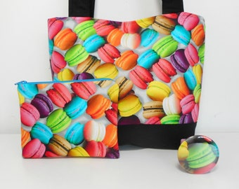 Macaroon Tote Bag, Sweet Colorful Purse Set, Coin Purse and Pocket Mirror, Macaroon Purse