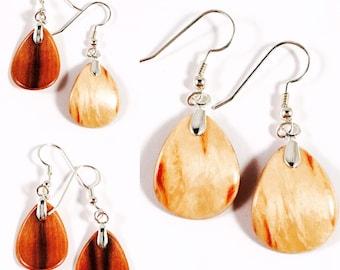 Small/Petal/Earrings/Karelian Birch/ Redgum/Handmade/Vermont