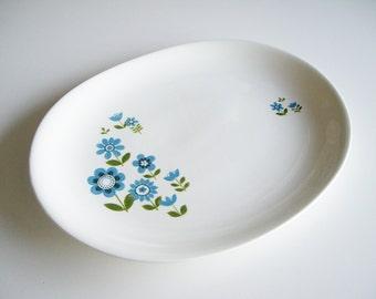 Vintage Platter, Mid Century, Johnson Bros, Snowhite, Ironstone, Blue Green Flowers, Mint Condition, Retro, Scandinavian Style, Oval, Large