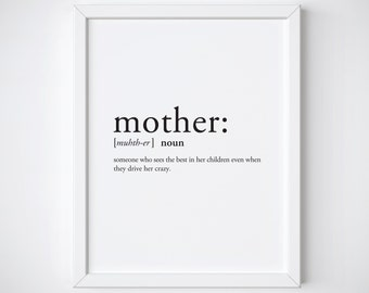 Mother Print - Definition Print - Dictionary Print - Mothers Day Gift - Gifts for mom - gifts for friend - mother wall art - mom print