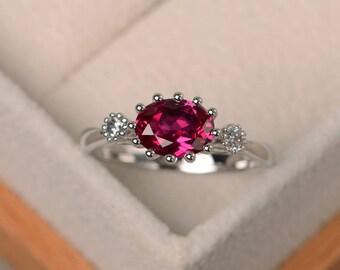 Lab ruby ring, wedding ring, red gemstone, oval cut gemstone, July birthstone, three stones ring